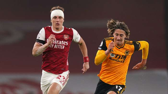 David Luiz Fabio Silva Arsenal vs Wolves Premier League 2020-21