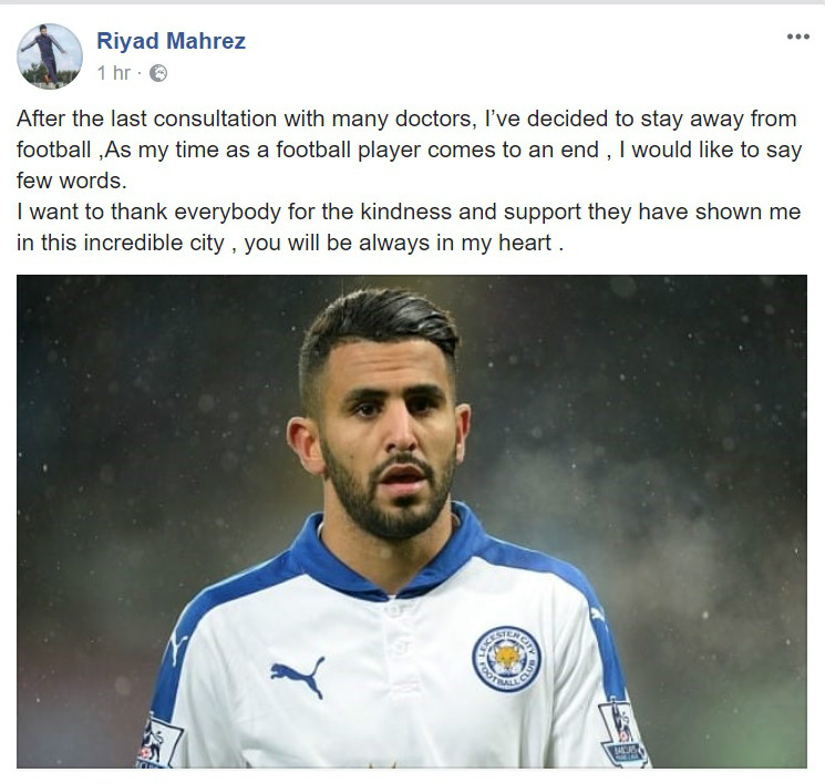 Riyad Mahrez Leicester City Retirement