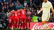 Girona celebrate vs Real Madrid