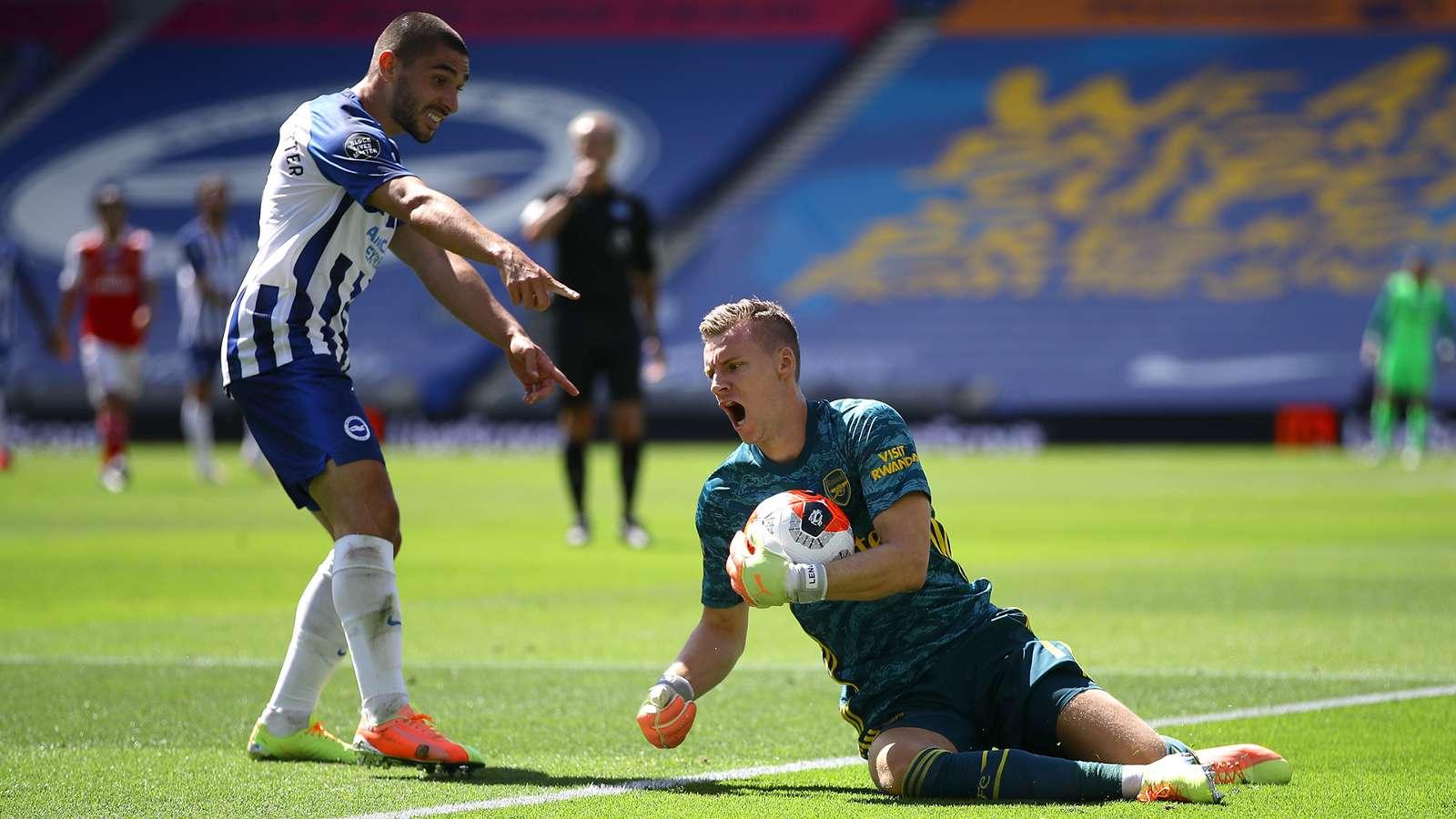 Neal Maupay Bernd Leno Brighton Arsenal 2019-20