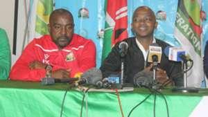FKF boss Nick Mwendwa and Francis Kimanzi of Harambee Stars and Kenya.