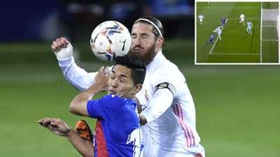 Ramos, en el Eibar vs. Real Madrid (penalti no pitado)