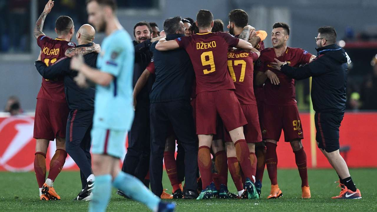 Roma celebrating Roma Barcellona Champions League