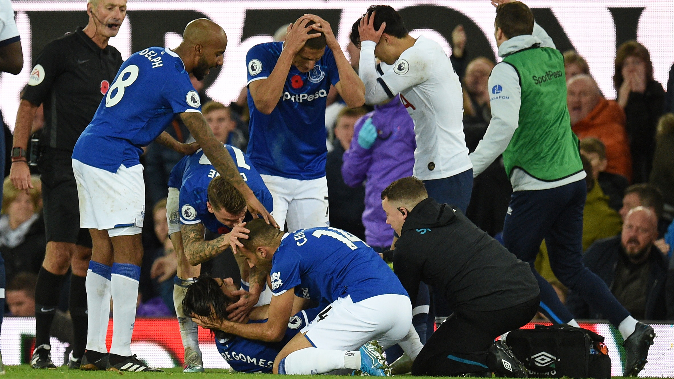 Gomes makes return to Everton training three months on from horror ankle injury