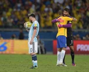 messi alisson argentina brasil 2016