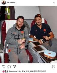 바르셀로나 동료 리오넬 메시(좌)와 루이스 수아레스(우). 사진=메시 인스타그램 캡처