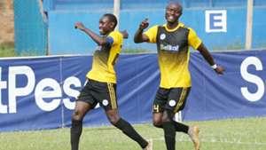 Sofapaka striker Stephen Waruru and Dennis Odhiambo.