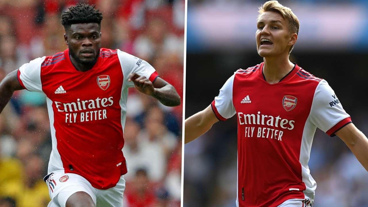 Arsenal midfielders Thomas Partey and Martin Odegaard.