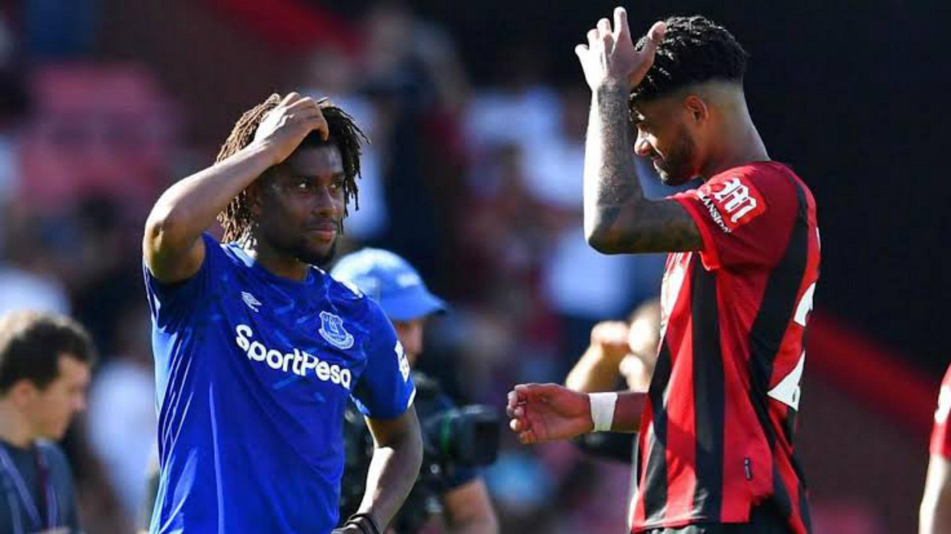 Everton's Alex Iwobi and Bournemouth's Philip Billing