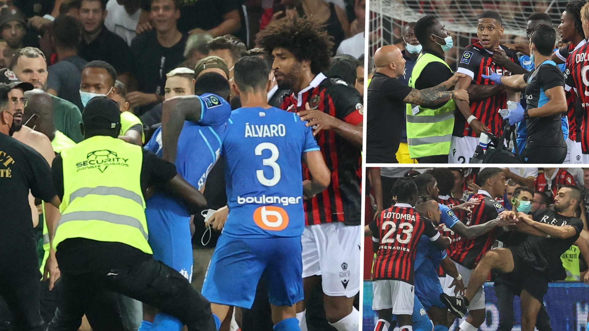 Marseille match suspended as Nice fans storm pitch to spark brawl