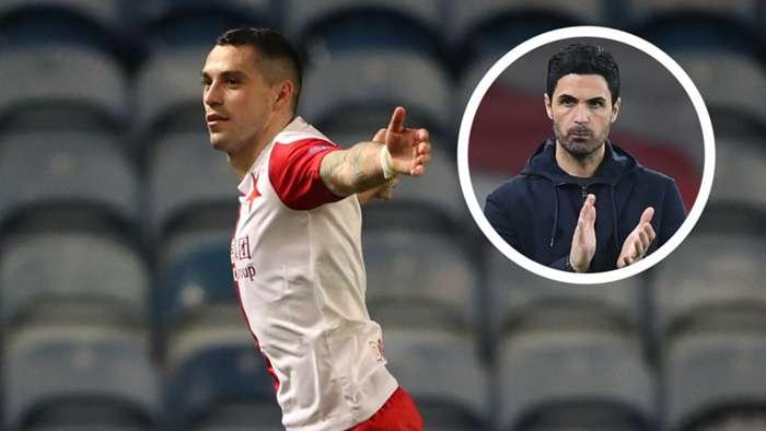 Nicolae Stanciu Mikel Arteta Slavia Prague Arsenal GFX
