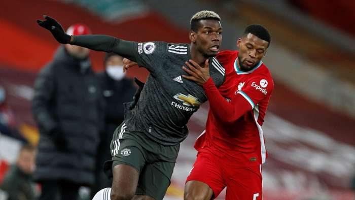 Paul Pogba Georginio Wijnaldum Liverpool vs Man Utd Premier League 2020-21