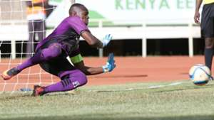 Ulinzi Stars keeper James Saruni saves penalty.