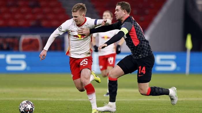 Dani Olmo, Jordan Henderson, RB Leipzig vs Liverpool 2020-21