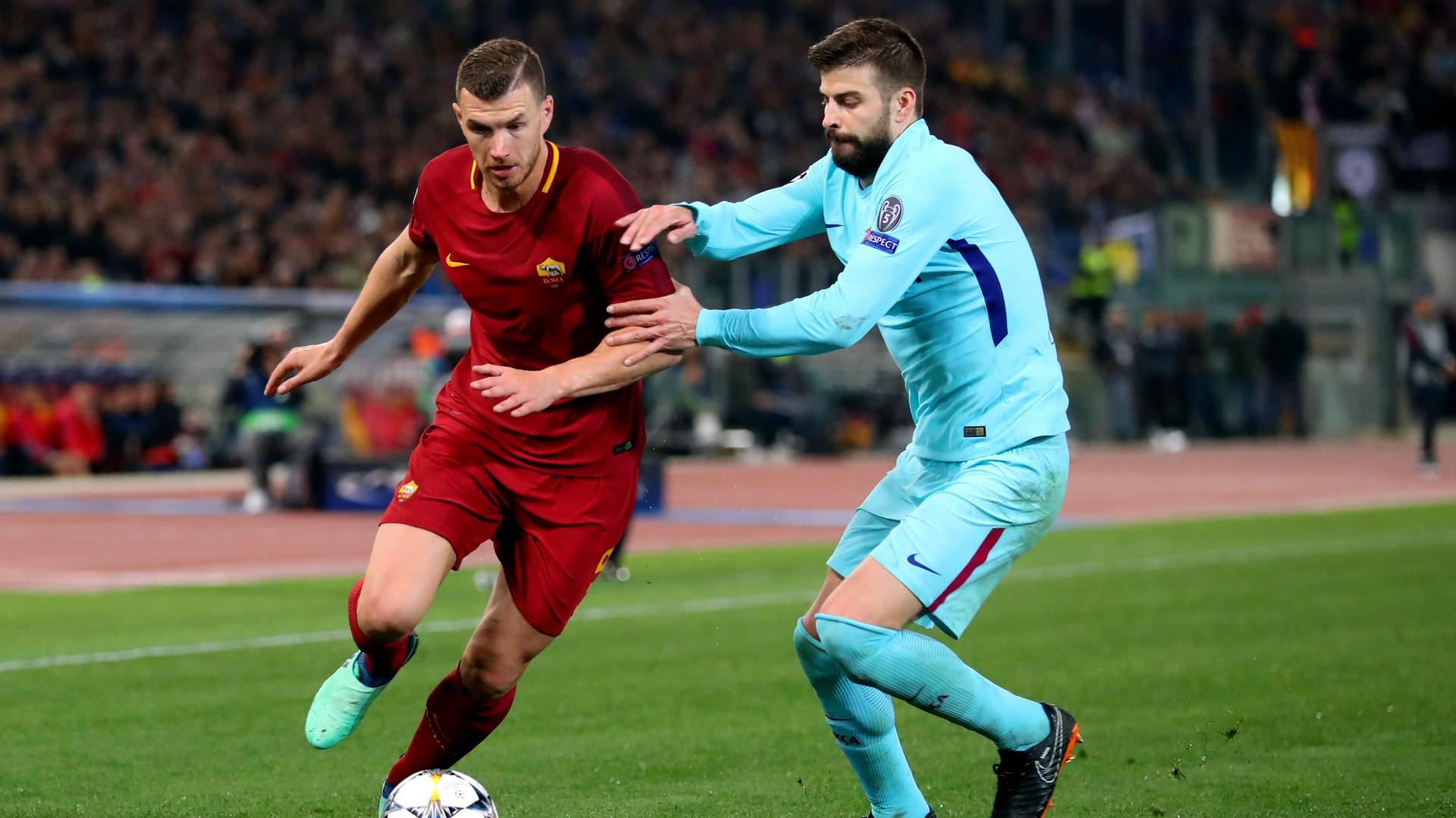 Edin Dzeko Gerard Piqué Roma Barcelona UEFA Champions League 04102018