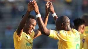 Mamelodi Sundowns v SuperSport United - August 2019 Themba Zwane and Hlompho Kekana