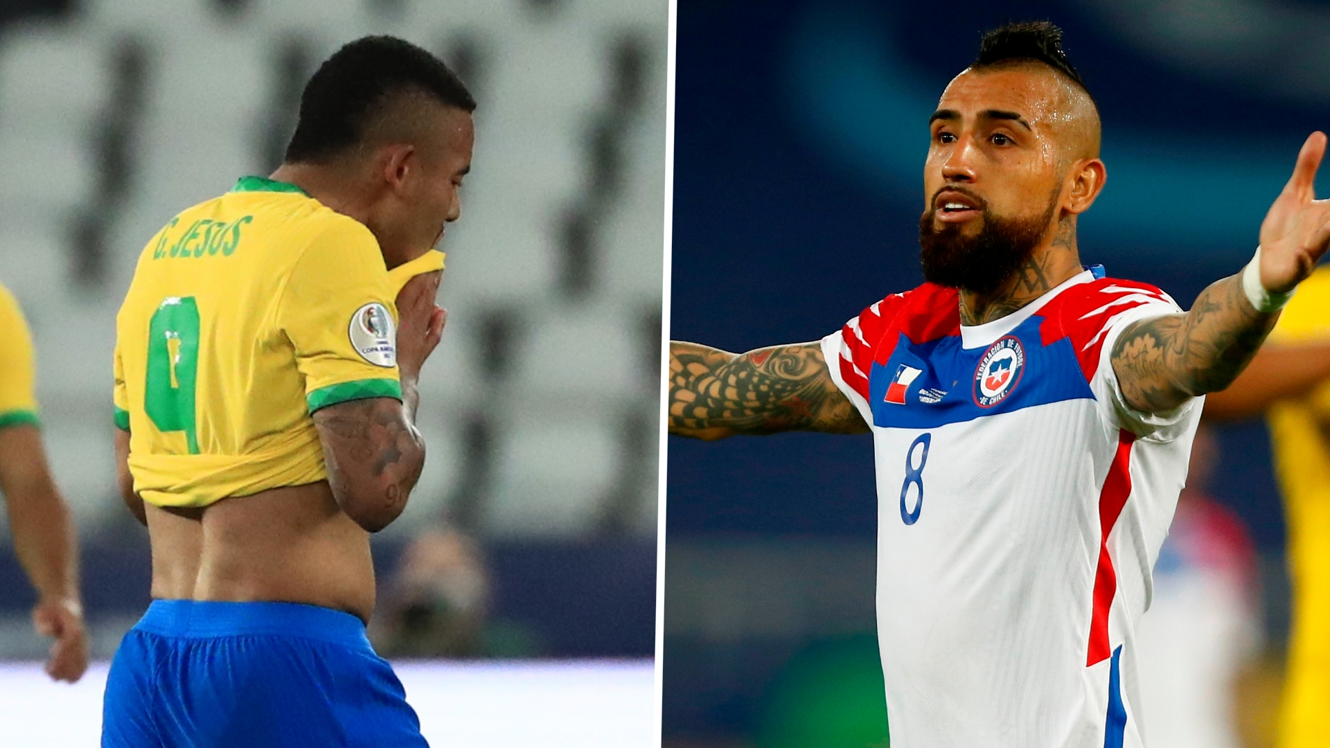 Brazil's Gabriel Jesus shown red for horror kung-fu challenge as Chile's Vidal slams 'clown' Copa America referee