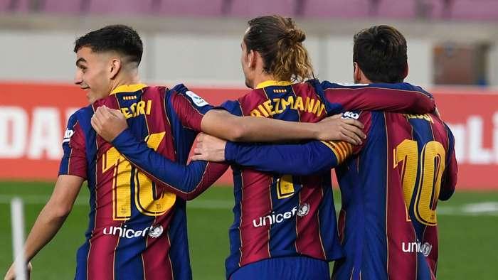 Pedri Antoine Griezmann Lionel Messi Barcelona 2020-21