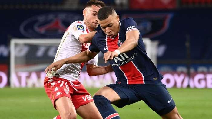 Kylian Mbappe Ruben Aguilar PSG Monaco Ligue 1 21022021
