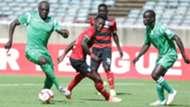 Joash Onyango of Gor Mahia and John Makwatta of AFC Leopards.