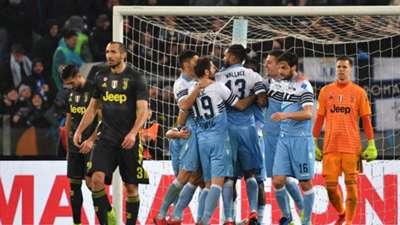 Lazio players celebrating Lazio Juventus Serie A