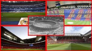 Bernabéu, Camp Nou, Maracaná, Wembley y Anfield