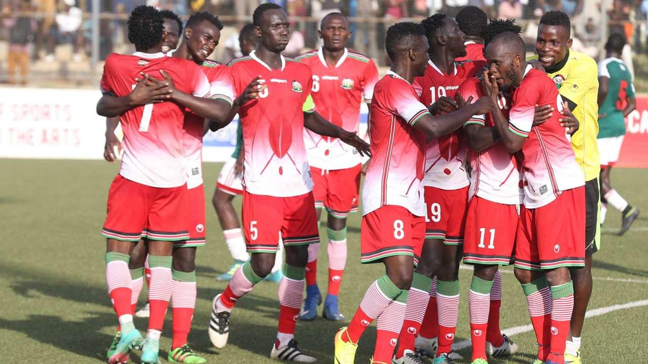 Harambee Stars players celebrate.