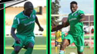 Gor Mahia defender Joash Onyango and Kenneth Muguna.