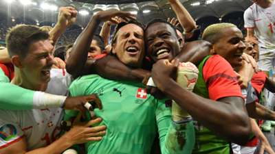 Switzerland celebrate penalty win over France, Euro 2020