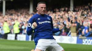 Wayne Rooney celebrates scoring for Everton v Stoke