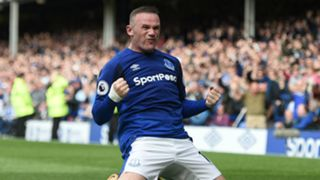 Wayne Rooney celebrates scoring for Everton v Stoke
