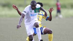 Herbert Kompany tackle of Western Stima tackles George Owino of Mathare United.