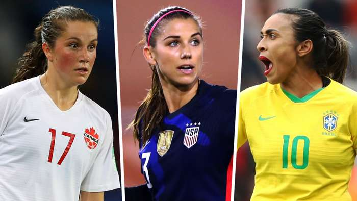 Jessie Fleming Alex Morgan Marta Canada USWNT Brazil women split