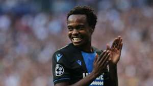 Percy Tau of Club Brugge against Real Madrid