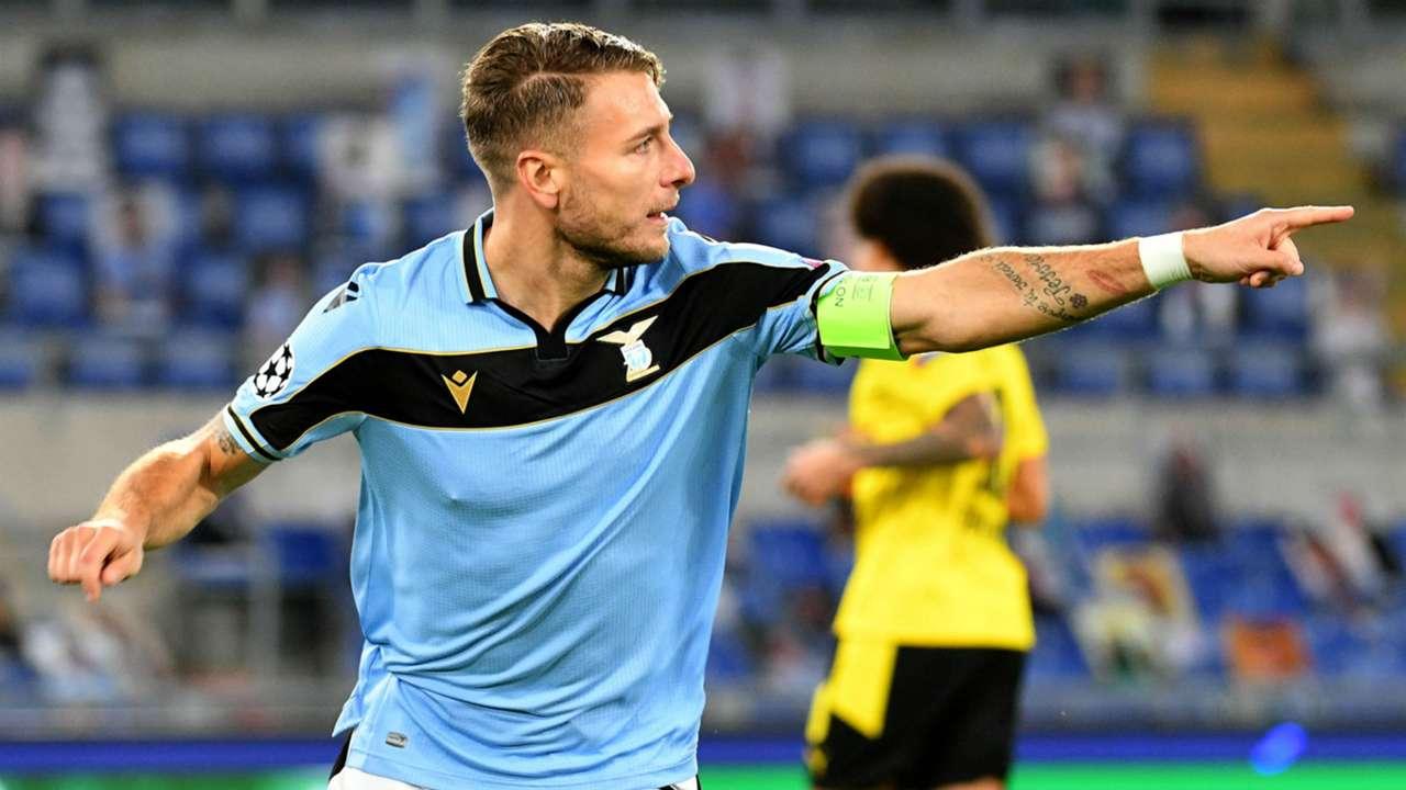 Immobile celebrating Lazio Borussia Dortmund Champions League