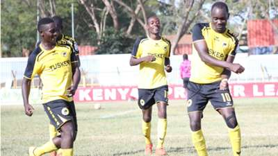 Tusker striker Timothy Otieno celebrates v Nzoia Sugar.j