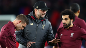 James Milner Jurgen Klopp Mohamed Salah 2018-19