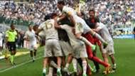 Milan celebrating vs Inter Serie A
