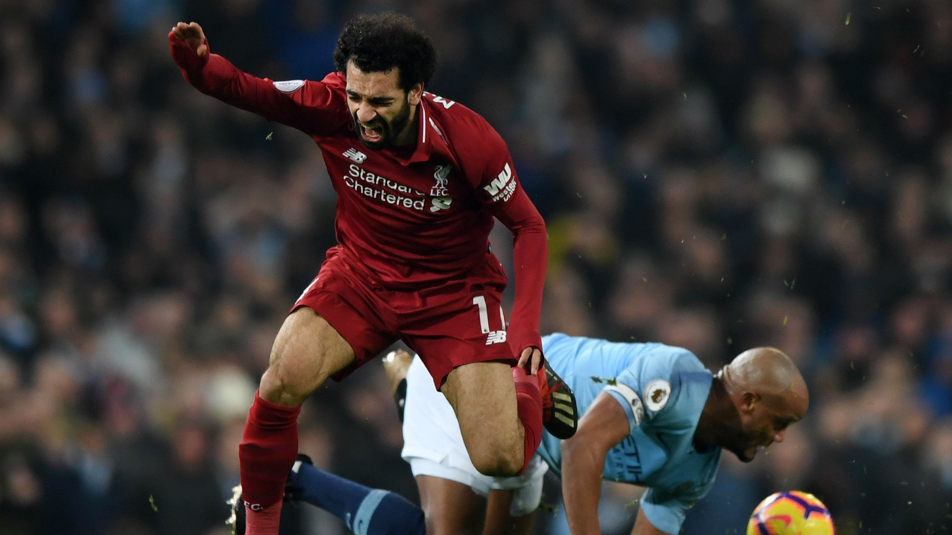 Mohamed Salah Vincent Kompany Manchester City Liverpool Premier League 03012019