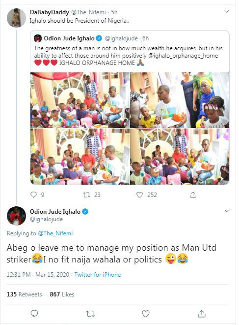 Manchester United's Ighalo not ready to become Nigeria President