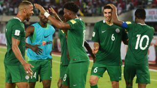William Troost-Ekong, Leon Balogun and Alex Iwobi of Nigeria