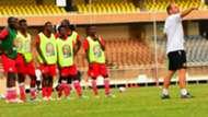Harambee Stars coach Sebastien Migne and Chan squad.