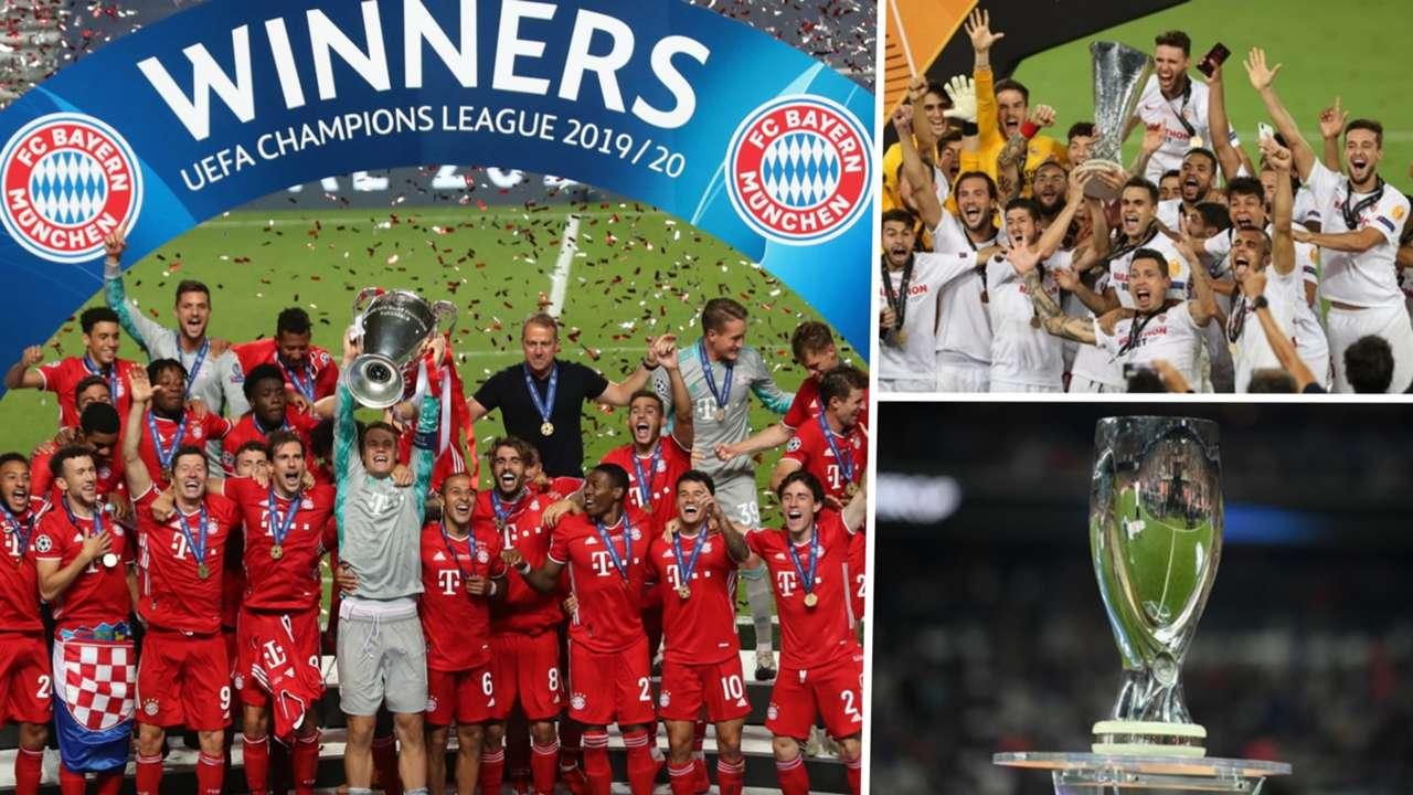 Bayern Munich Champions League Sevilla Europa League Super Cup trophy composite
