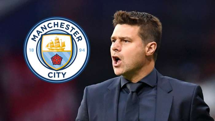 Mauricio Pochettino/Man City logo 2019-20