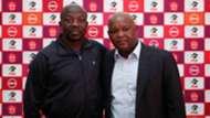 Kaitano Tembo, coach of SuperSport United with Pitso Mosimane, coach of Mamelodi Sundowns, July 2019