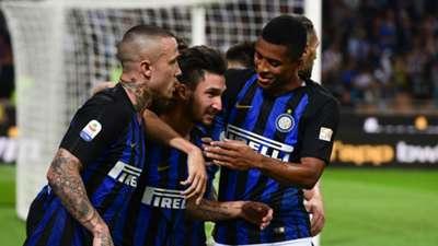 Inter celebrating Cagliari Serie A