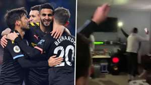 Man City stars sing Wonderwall as they deal with dressing room blackout at Burnley