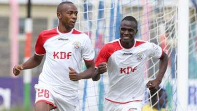 Daniel Waweru of Ulinzi Stars celebrate scoring with Enosh Ochieng.