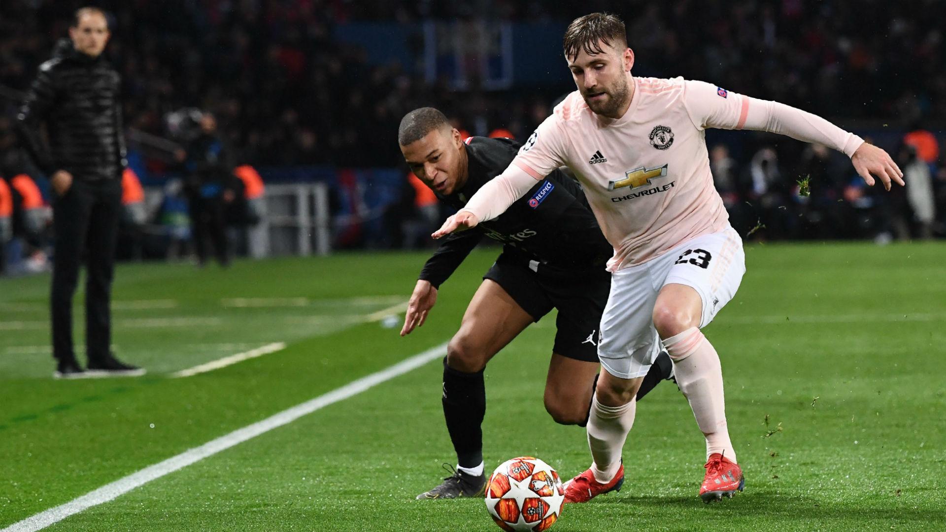 Luke Shaw Kylian Mbappe PSG Manchester United UEFA Champions League 06032019