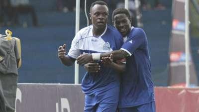 Gor Mahia midfielder Kevin Omondi celebrates.